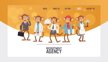 Monkey like people character vector illustration. Wild cartoon animal recruiter application landing page. Professional mammal worker banner. Animal primate in uniform customer agency job recruitment. Illustration