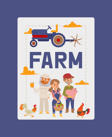 People buying fresh local vegetable from farm market vector banner illustration. Milk farm shop poster. Business people raw food store. Organic products summer grocery garden nutrition.