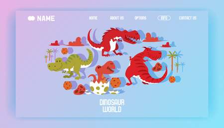 Dinosaurs world poster landing page vector illustration cartoon dinosaurs t-rex, tyrannosaurus prehistoric reptile monster banner. Ancient predator character park wildlife animal.