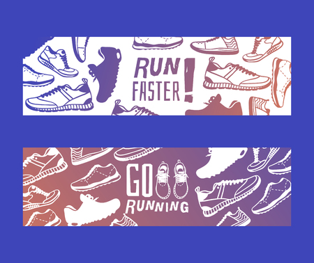 Run faster lettering banner running shoes vector sneakers or trainers with text signs for typography illustration set of runners inscriptions go run footwear silhouette flyer. Motivation concept. Illustration