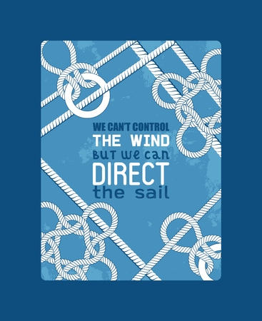 Different nautical sailor knots and ropes motivation vector illustration. String twisted thread cable poster. Ship marine lasso flyer. Sailing equipment vintage noose cordage. Navy natural curve line. 向量圖像