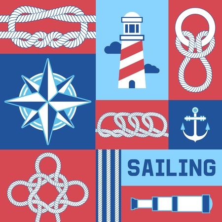 Different nautical sailor knots and ropes compass, anchor, lighthouse vector illustration. String twisted thread cable banner. Ship marine lasso flyer. Sailing equipment vintage noose cordage.