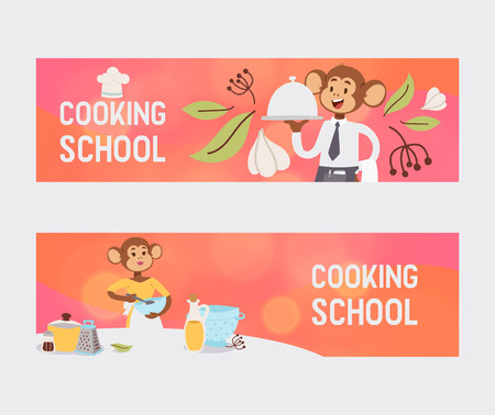 Monkey like people character vector illustration. Wild cartoon animal playing cooking and eating meal. Professional master prepare food education school banner. Animal primate in uniform cook.