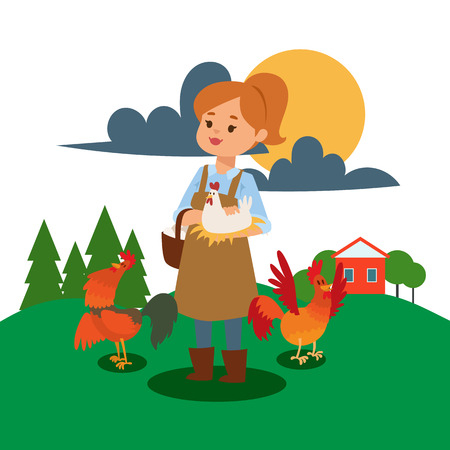 La femme vit et travaille sur l'illustration vectorielle de la ferme. Affiche de fille de ferme de poulet. Magasin d'aliments crus animaux heureux. Poule d'été de produits biologiques sur la nutrition du jardin. Personnage féminin agricole souriant.