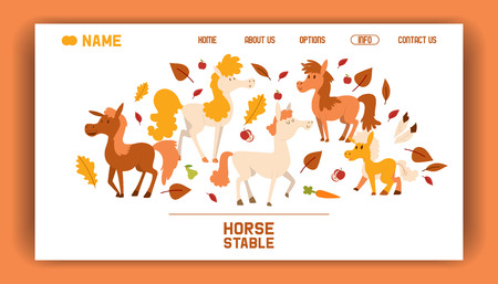 Horse farm stable vector flat cartoon illustration landing page. Purebred beautiful animal thoroughbred banner. Brown ranch equestrian, stallion racehorse web page.