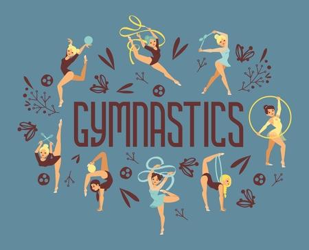 Ilustración de vector de atleta de deporte de ejercicio de gimnasta de niña. Cartel de personas de equilibrio de gimnasia de fuerza de rendimiento de entrenamiento. Campeonato de entrenamiento acróbata hermoso personaje.