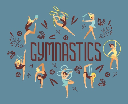 Young girl gymnast exercise sport athlete vector illustration. Training performance strength gymnastics balance people poster. Championship workout acrobat beautiful character. Иллюстрация