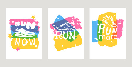 Run lettering on running shoes vector sneakers or trainers cards with text signs for typography illustration set of runners inscriptions run now on white background. Motivation training motion poster. Çizim