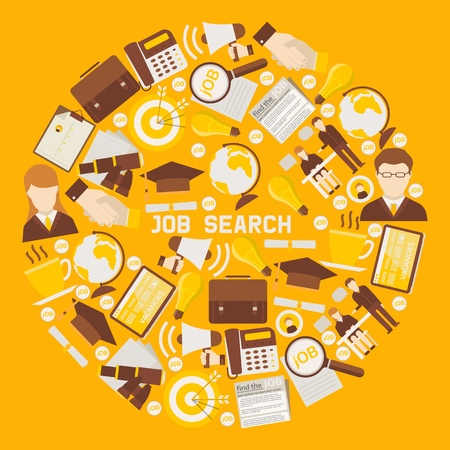 Job search career recruitment occupation career concept round pattern vector illustration. Work employment hiring human occupation. Goal strategy headhunting profession plan background. Ilustração