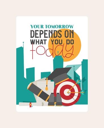 Depends wthat you do banner vector illustration. Open vacancy design template. Job search career recruitment occupation career concept. Creative work motivation. Hiring recruitment design poster. Ilustración de vector