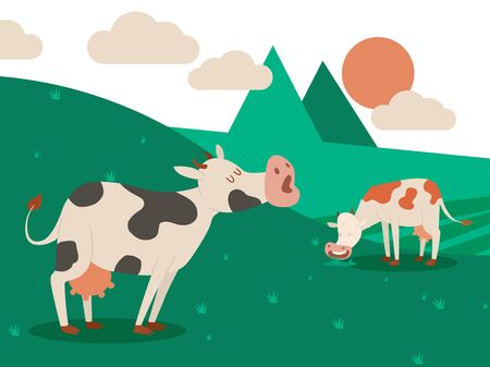 Dairy farm and a herd of cows on a beautiful summer landscape. Cow eating grass. Vector illustration. Domestic animal with small horns and udder for milk production, green meadow with pretty pet.