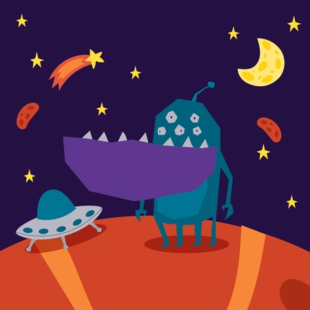 Monster alien poster, banner vector illustration. Cartoon monstrous character, cute alienated creature or funny gremlin on halloween for kids. Spacecraft on planet in cosmos among stars and moon.