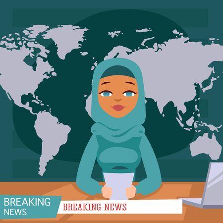Ancoraggio femminile arabo di notizie sullo sfondo di ultime notizie della TV, illustrazione piana di vettore. Reporter arabo televisivo femminile in abiti tradizionali con informazioni su carta e laptop.