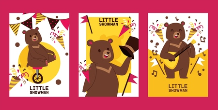 Little bear showman set of banners, posters vector illustration. Circus performance. Happy bear riding unicycle and playing balalaika invitation cards for party. Confetti, birthday flags. Vector Illustration
