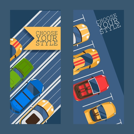 Choose your style flat set of banners vector illustration. Urban traffic concept, cars in parking zone, outdoor auto park, public lots for vehicles, city transport services. Ilustrace