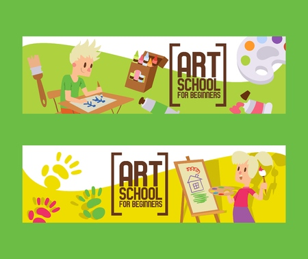 Art school for beginners set of banners. Girl and boy drawing, painting, sketching on easel. Education, enjoyment concept. Pencils, watercolor, crayons. Creative people. Hand print.