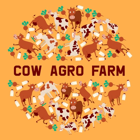 Cow agro farm banner vector illustration. Smiling cartoon animals with bottles of milk and vegetables. Fresh diary products concept. Text milk on cow. Organic and natural food. Farming cattle. Illustration
