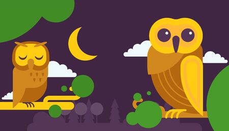 Owl birthday cards vector illustration. Cute cartoon wise birds with wings of different colors sitting on tree branch for invitations and celebration party. Night sky with moon and cloud.
