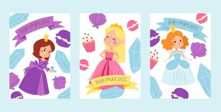 Little princess girls in evening gowns banner vector illustration. Elegant little female characters in flat style. Fashionable ladies in dresses with crowns, fairytale costumes.