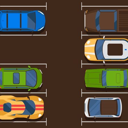One free place banner vector illustration. Urban traffic concept, cars in parking zone, outdoor auto park, public lots for vehicles, city transport services. Shortage parking spaces. Imagens - 124823950