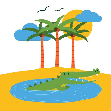 Terrarium tropical island banner vector illustration. Cartoon funny crocodile in water pond near beach with palms trees. Bank of sea or ocean. Animals on land. Sun and clouds.