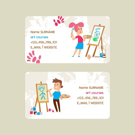 Art course school set of business cards vector illustration. Girl and boy drawing, painting, sketching on easel. Education, enjoyment concept. Pencil, watercolor. Creative people. Contact information.