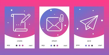 Email outline icons set o posters, banners vector illustration. Creat sign with pencil writing on paper, attach envelope with clip, send icon with paper plane. Skip, next.