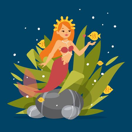 Cute mermaid princess with red hair and other under the sea elements such as fish, seaweed,stones and shells banner vector illustration. Cartoon beautiful girl with fin and bra.