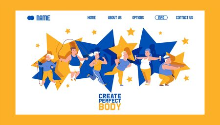 Create perfect body banner web design vector illustration. People with overweight doing exercises. Obese man and woman doing exercises with jumping rope, dumbbells. Overweight training. Stock Illustratie