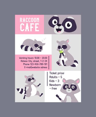 Raccoon cafe poster advertisement vector illustration. Cute cartoon sitting animals with flowers and branches. Creature with big eyes. Contact information such as email, phone. Illustration