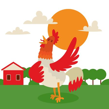 Rooster singing or performing song on country land background banner vector illustration. Farm cock with bright plumage, poultry farming. Dawn or daybreak near house. Nature with trees. Illustration