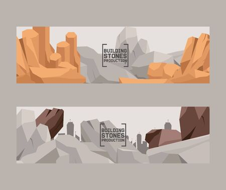 Building stones production cartoon flat set of banners. Stones and rocks in isometric 3d style vector illustration. Set of boulders of different shape and color. Heavy natural rough mountain material.