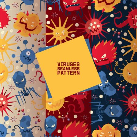 Viruses set of seamless patterns vector illustration. Microbes or collection of cartoon viruses. Bad microorganisms for people. Different disgusting bacteria. Agressive monsters.