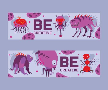 Be creative set of banners vector illustration. Cartoon monstrous character with many legs, eyes, creature or funny gremlin on halloween for kids. Ugly ufo beasts for invitations. Starnge humanoids. Illustration