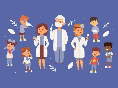 Team of pediatrician doctors with ill children banner vector illustration. Otorhinolaringologist physician with equipment. Man in mask. Woman holding stethoscope. Kids with cough, rash, flu, fever.