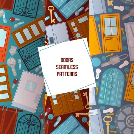 Front doors to houses and buildings set of seamless patterns in flat design vector illustration. Interior wooden, glass, metal door of various forms. Keys of different shape. Flat, shop.