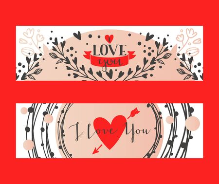 Calligraphy text I Love You for Valentines day, wedding, dating and other and other romantic events set of banners vector illustration. Lettering decorated with flowery branch. Heart with arrow.