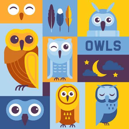 Owls banner vector illustration. Cute cartoon wise birds with wings of different colors for greeting cards and celebration party. Owls with closed eyes. Night sky with moon, stars and clouds.