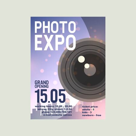 Photo exposition poster vector illustration. Date and place of grand opening. Professional zoom photo lenses and supplies for camera. Photographer accessories and equipment. Vettoriali