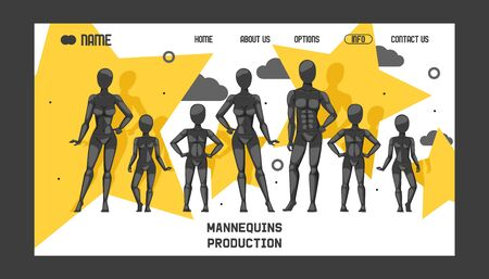 Mannequins production banner web design vector illustration. Fashion clothing store, shop window. Different poses and colurs fashion female male and children full body mannequins collection. Ilustrace