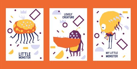 Little Monster aliens set of banners vector illustration. Cartoon monstrous character, lovely creature or funny gremlin on halloween for kids. Ugly ufo beasts for invitation cards. Party celebration.