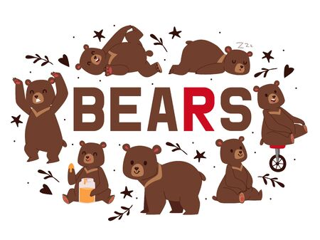 Bears banner vector illustration. Cartoon brown grizzly bear. Teddy in different pose and activities, sitting, dancing and lying, eating sweet honey, riding unicycle, sleeping. Paw in sticky nectar.