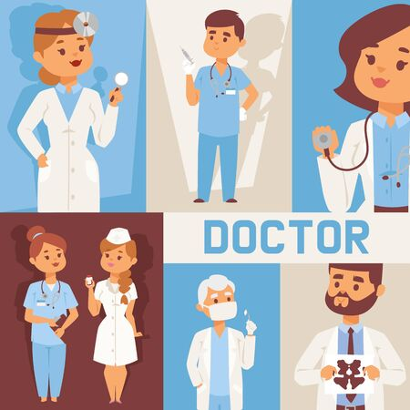 Team of doctors and other hospital workers with equipment banner vector illustration. Medicine professionals and medical staff people in uniform doctor, nurse. Health care clinic. Ilustrace