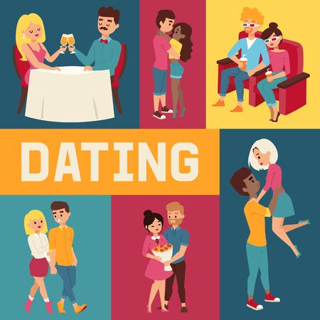 Dating banner vector illustration. People sitting in restaurant and drinking champagne. Cople in 3d glasses in cinema. Watching films. Boy hugging girlfriend. Man presenting bunch of flowers to woman.