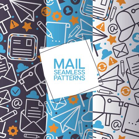 Email icons set of seamless patterns. Vector mail elements letter, envelope, stamp, post box, package, pencil. Paper plane sign. Reloading, received and problem icons design.
