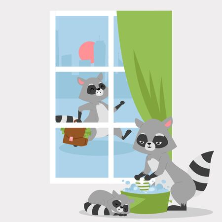 Raccon family poster, banner vector illustration. Cartoon mother washing clothes in bowl, small child sleeping near parent. Father going home with suitcase full of money.