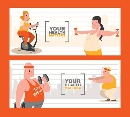 People with overweight doing exercises set of banners vector illustration. Your health matters. Never give up T-shirt. Fat women and men on exercise bike, fitness, with dumbbells.