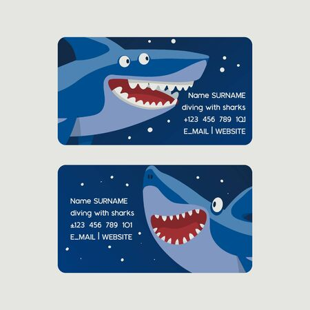 Diving with sharks set of business cards vector illustration. Cartoon fish character in blue sea or ocean background. Underwater nature and marine wildlife. Contact information. Çizim