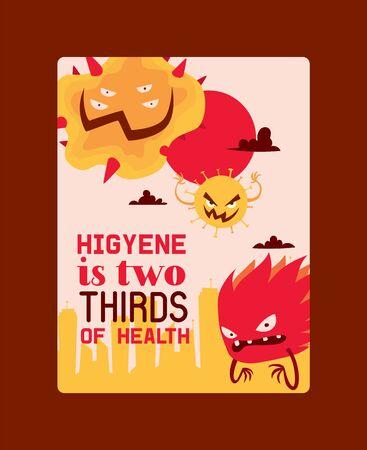 Higyene ist zwei Drittel der Vektorillustration des Gesundheitsplakats. Mikroben oder Sammlung von Cartoonviren. Schlechte Mikroorganismen für den Menschen. Verschiedene ekelhafte Bakterien. Aggressive Monster. Vektorgrafik