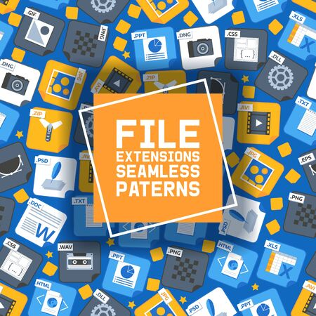 Flat style icon set seamless pattern vector illustration. Audio, song, voice recording, image, word file type, extencion. Document format. Pictogram. Web and multimedia.